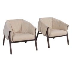 Ligne Roset by Studio Catoir Okumi Cream Leather Armchairs, Set of 2