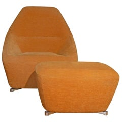 Ligne Roset Chair and Ottoman in Orange Mohair