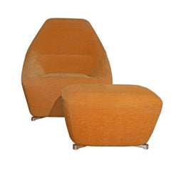 Ligne Roset Chair & Ottoman in Orange Mohair