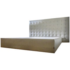Ligne Roset Custom Dauphin Beige Leather Nador Sleep Platform Queen Bed
