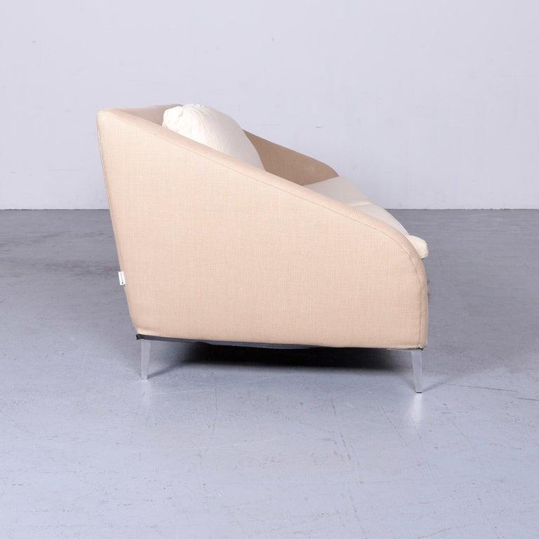 Ligne Roset Designer Fabric Sofa Brown Beige Three-Seat Couch 5
