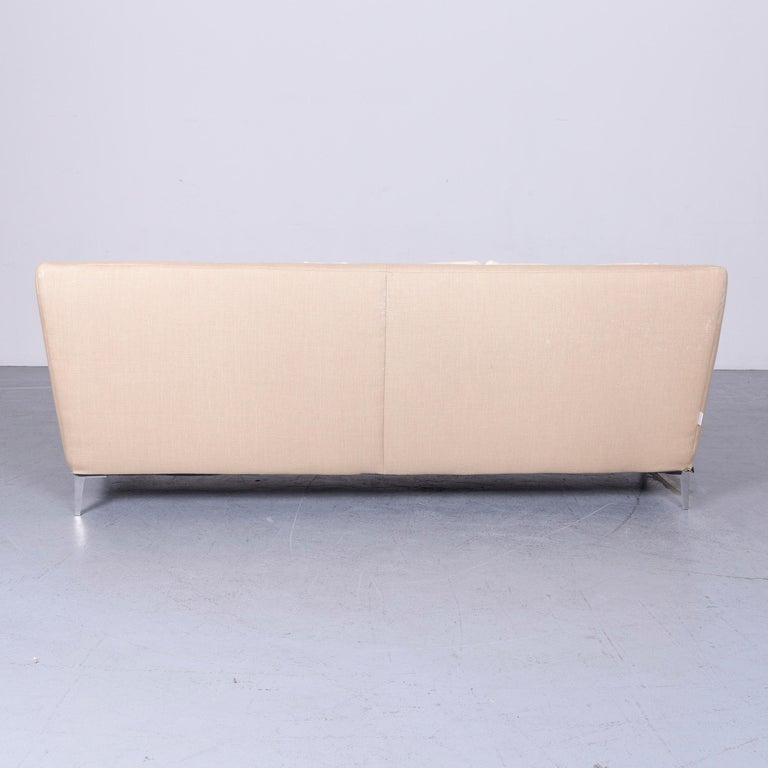 Ligne Roset Designer Fabric Sofa Brown Beige Three-Seat Couch 6