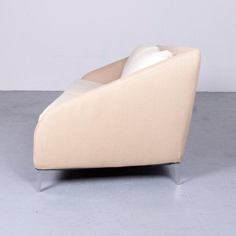 Ligne Roset Designer Fabric Sofa Brown Beige Three-Seat Couch 7