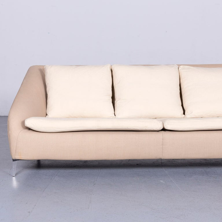 French Ligne Roset Designer Fabric Sofa Brown Beige Three-Seat Couch