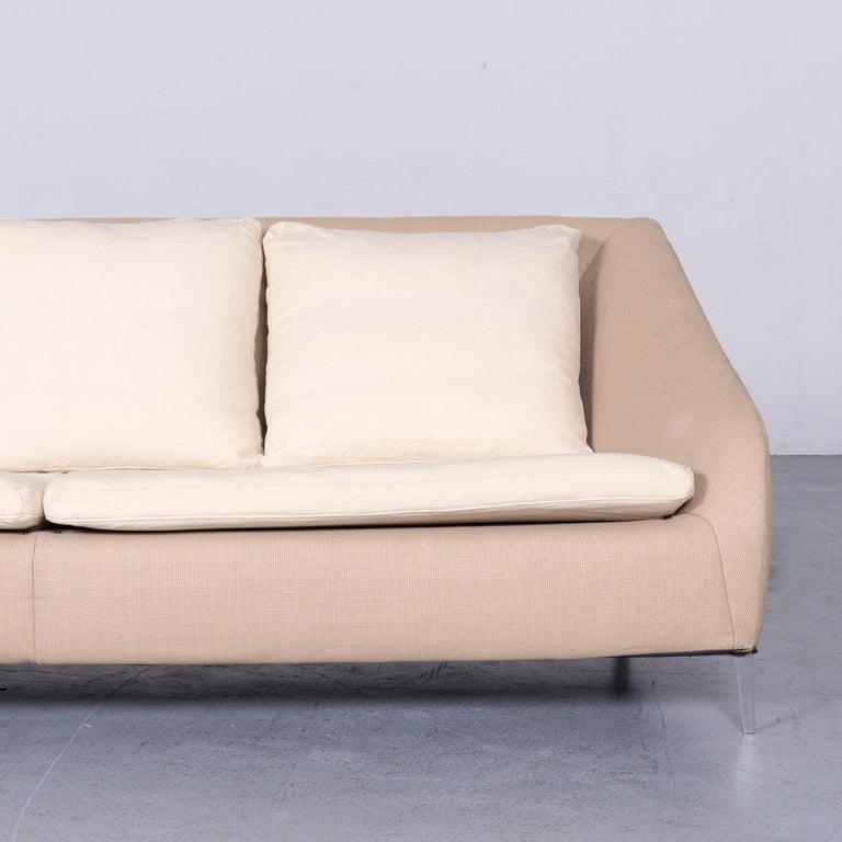 Ligne Roset Designer Fabric Sofa Brown Beige Three-Seat Couch In Good Condition In Cologne, DE