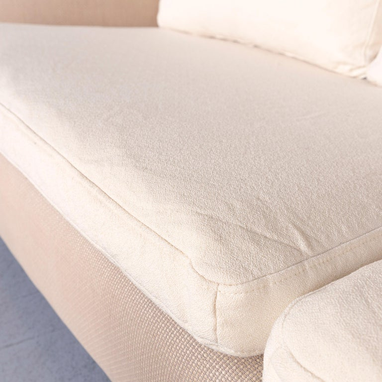 Ligne Roset Designer Fabric Sofa Brown Beige Three-Seat Couch 1
