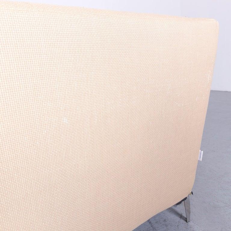 Ligne Roset Designer Fabric Sofa Brown Beige Three-Seat Couch 2