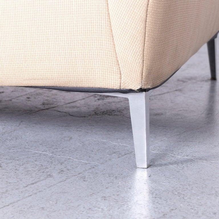 Ligne Roset Designer Fabric Sofa Brown Beige Three-Seat Couch 3