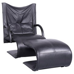 Ligne Roset Designer Leather Armchair Black Genuine Leather Chair Stool