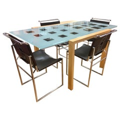 Ligne Roset Dining Room Expandable Table & Marcel Breuer Leather Corset Chairs