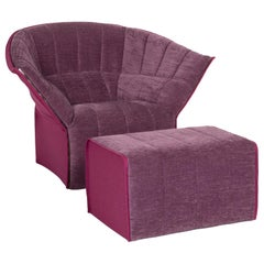 Ligne Roset Fabric Armchair Set Purple 1 Armchair 1 Stool