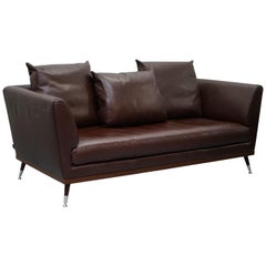 Ligne Roset Fugue Brown Leather Sofa Feather Cushions Didier Gomez