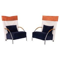 Ligne Roset Habitus Fabric Armchair Set Blue Cream 2x Armchairs