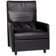 Ligne Roset Leather Armchair Black
