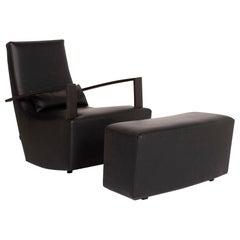 Ligne Roset Leather Armchair Black Incl, Stool