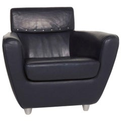 Ligne Roset Leather Armchair Blue