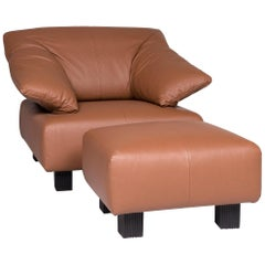 Ligne Roset Leather Armchair Brown Including Stool