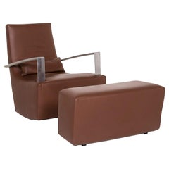 Ligne Roset Leather Armchair Incl. Stool Brown Rocking Function