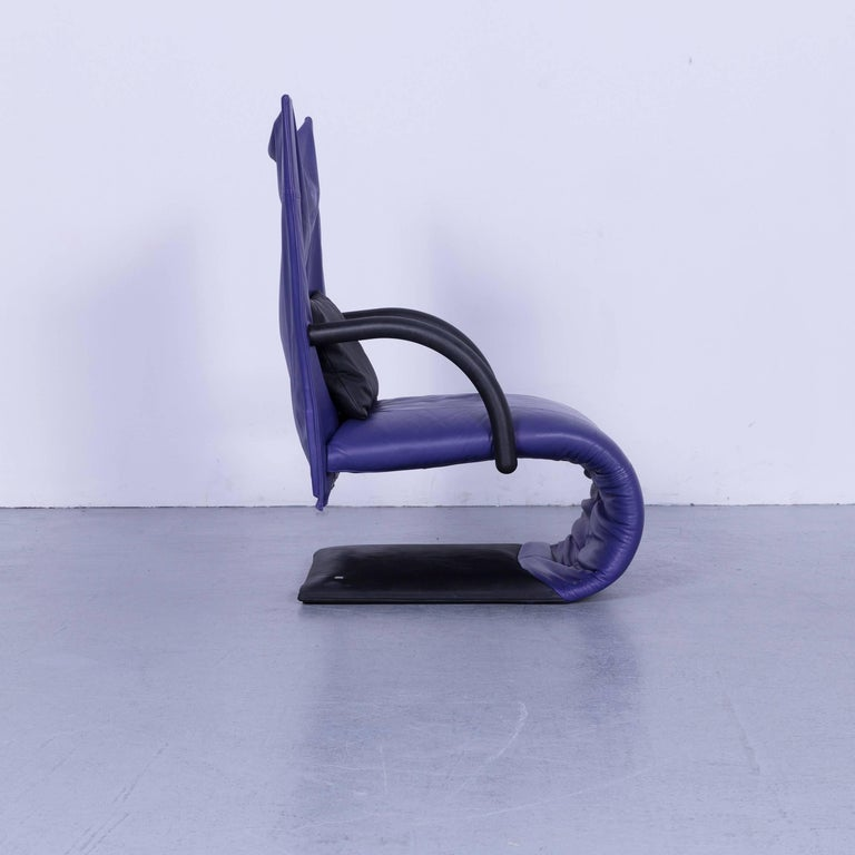 Ligne Roset Leather Armchair Violet One-Seat Swing-Chair 6