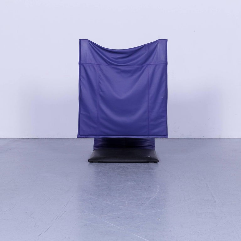 Ligne Roset Leather Armchair Violet One-Seat Swing-Chair 7