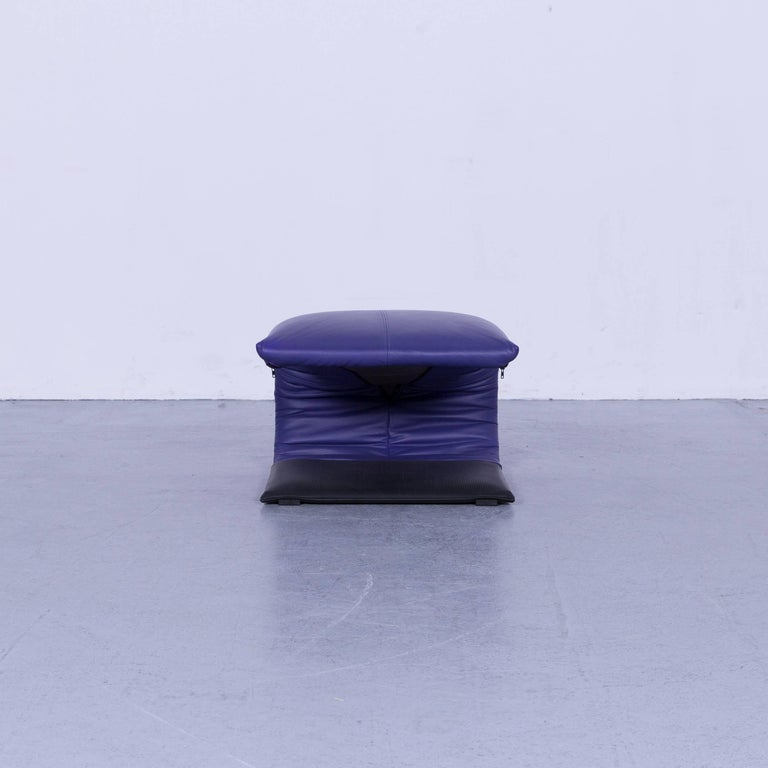 Ligne Roset Leather Armchair Violet One-Seat Swing-Chair 12