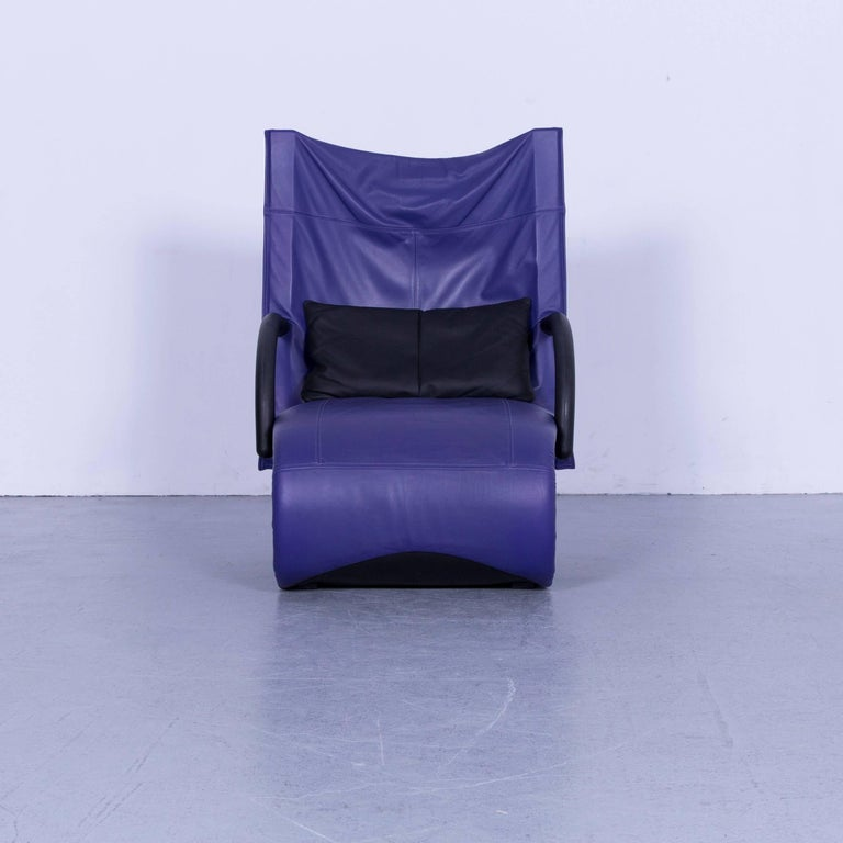 Ligne Roset Leather Armchair Violet One-Seat Swing-Chair In Good Condition In Cologne, DE