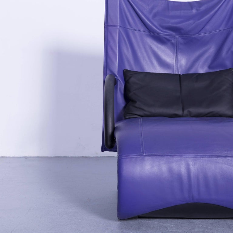 Contemporary Ligne Roset Leather Armchair Violet One-Seat Swing-Chair