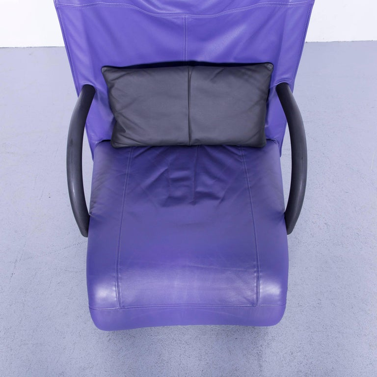 Ligne Roset Leather Armchair Violet One-Seat Swing-Chair 4