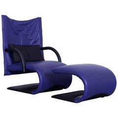 Ligne Roset Leather Armchair Violet One-Seat Swing-Chair