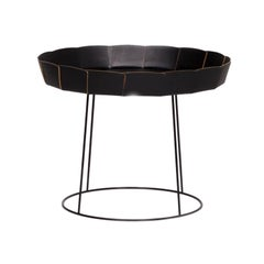 Ligne Roset Leather Metal Coffee Table