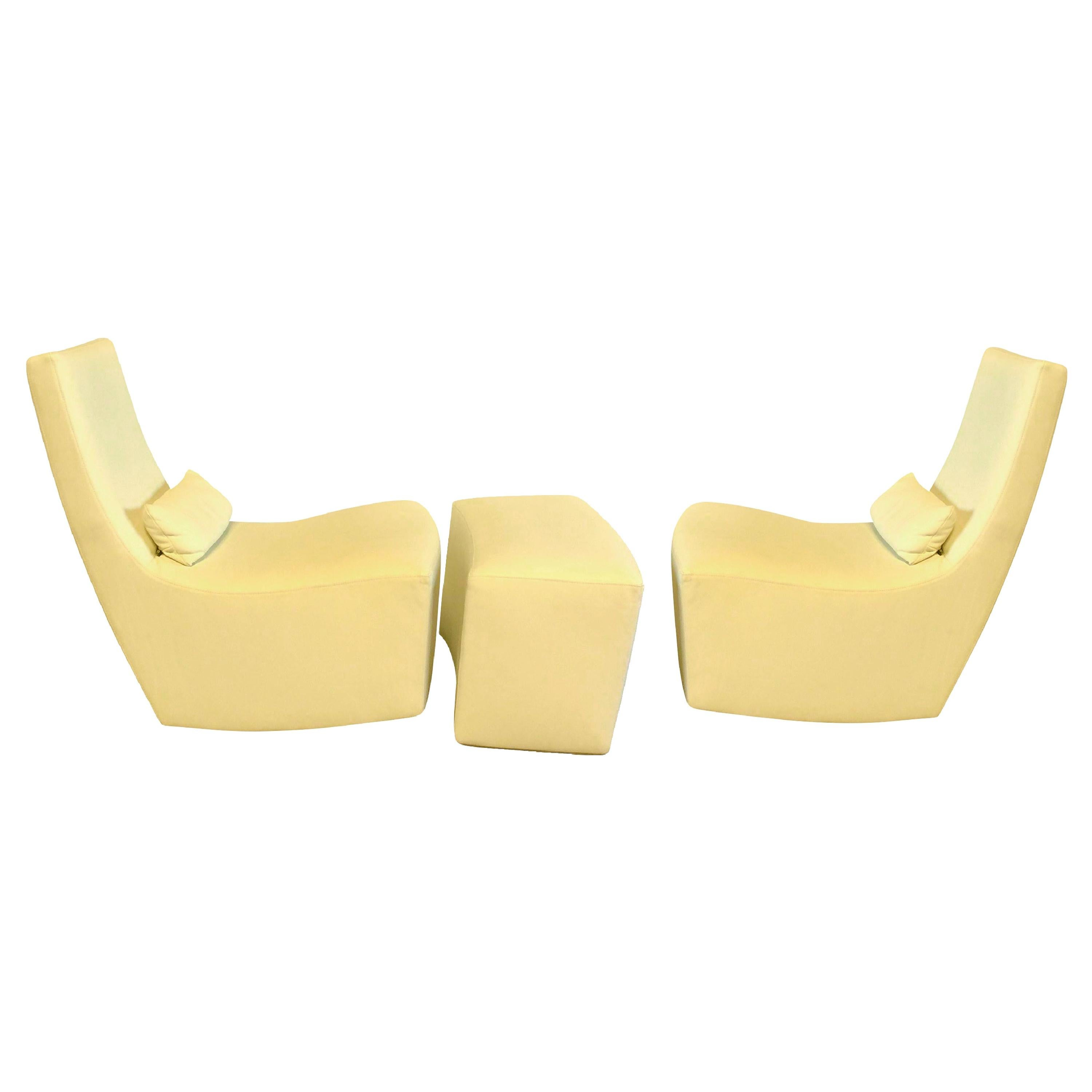 Ligne Roset Leather Rocker Lounge Chair Set of Two with Ottoman, Buttercup Cream