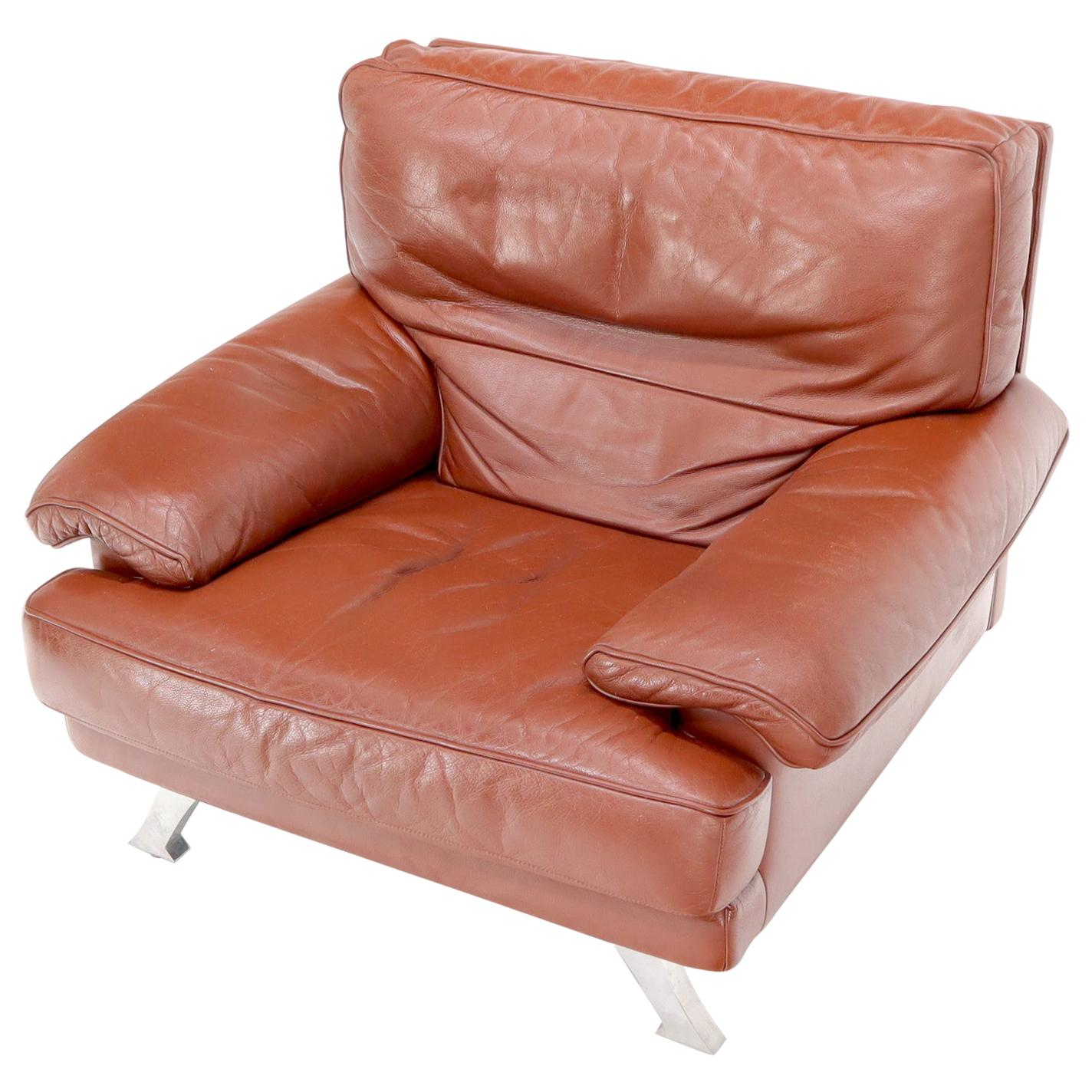 Ligne Roset Made in France Wide Seat Browm Leather Lounge Chair