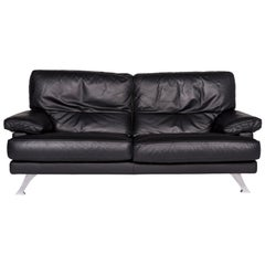 Ligne Roset Melody Leather Sofa Black Two-Seat Couch