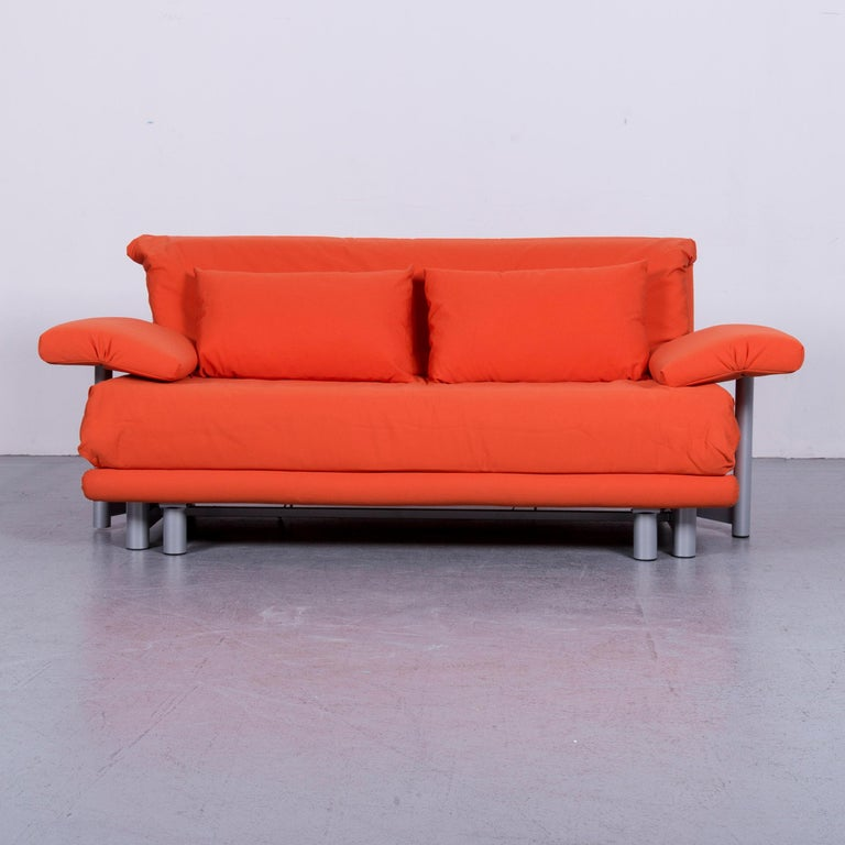 Ligne Roset Multy Fabric Sofa Bed Orange Two Seat Couch Sleep Function