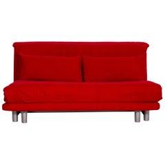 Ligne Roset Multy Fabric Sofa Bed Red Sofa Three-Seater Function Sleeping