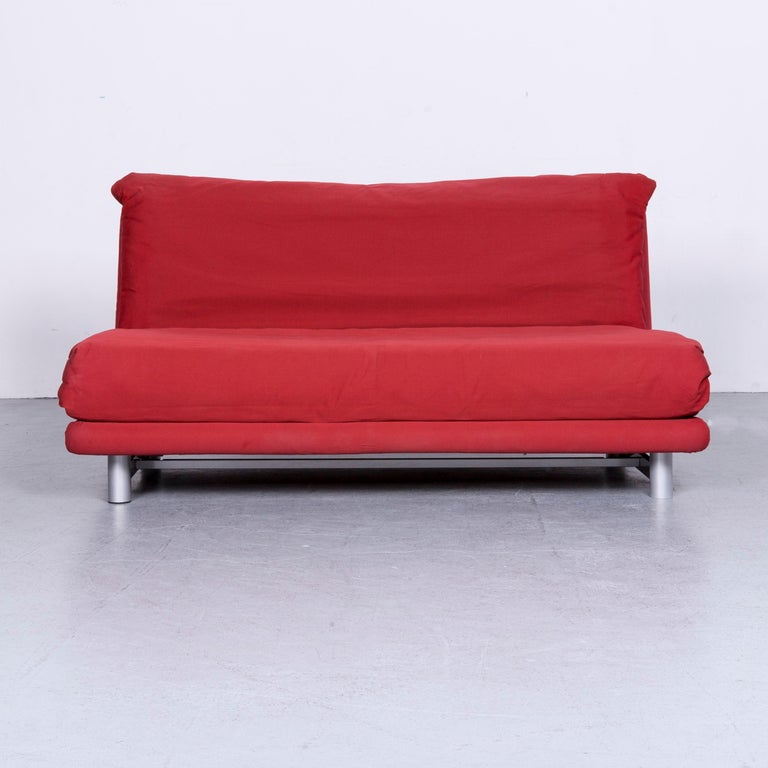 Ligne Roset Multy Fabric Sofa Bed Red Two Seat Couch Sleep Function
