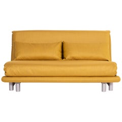 Ligne Roset Multy Fabric Sofa Bed Yellow Two-Seat Sofa Sleep Function Couch