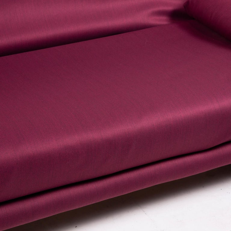 Modern Ligne Roset Multy Fabric Sofa Purple Three-Seat Sleeping Function