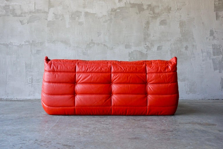 Ligne Roset Original Leather 'Togo' Sofa In Fair Condition For Sale In Merced, CA