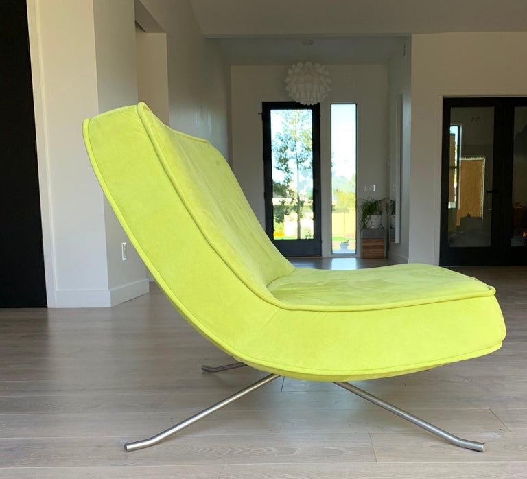 Steel Ligne Roset Pop Chair and Ottoman by Christian Werner For Sale