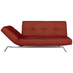 Ligne Roset Smala Fabric Sofa Red Three-Seat Sofa Bed Function Couch