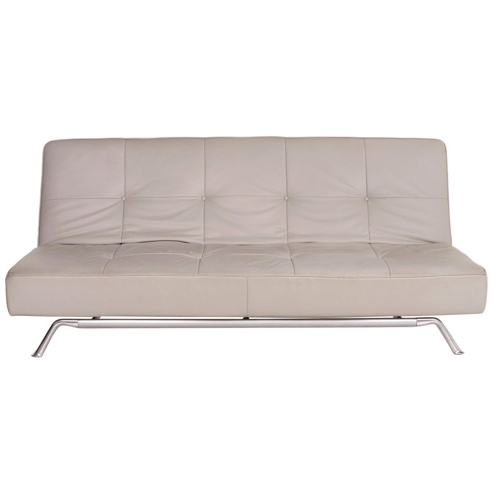 Ligne Roset Smala Leather Sofa Gray Three-Seat Relax Function Sleep Function