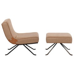 Ligne Roset Style Lounge Chair and Ottoman