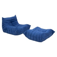 Ligne Roset Togo Blue Armchair and Footstool by Michel Ducaroy, Set of 2