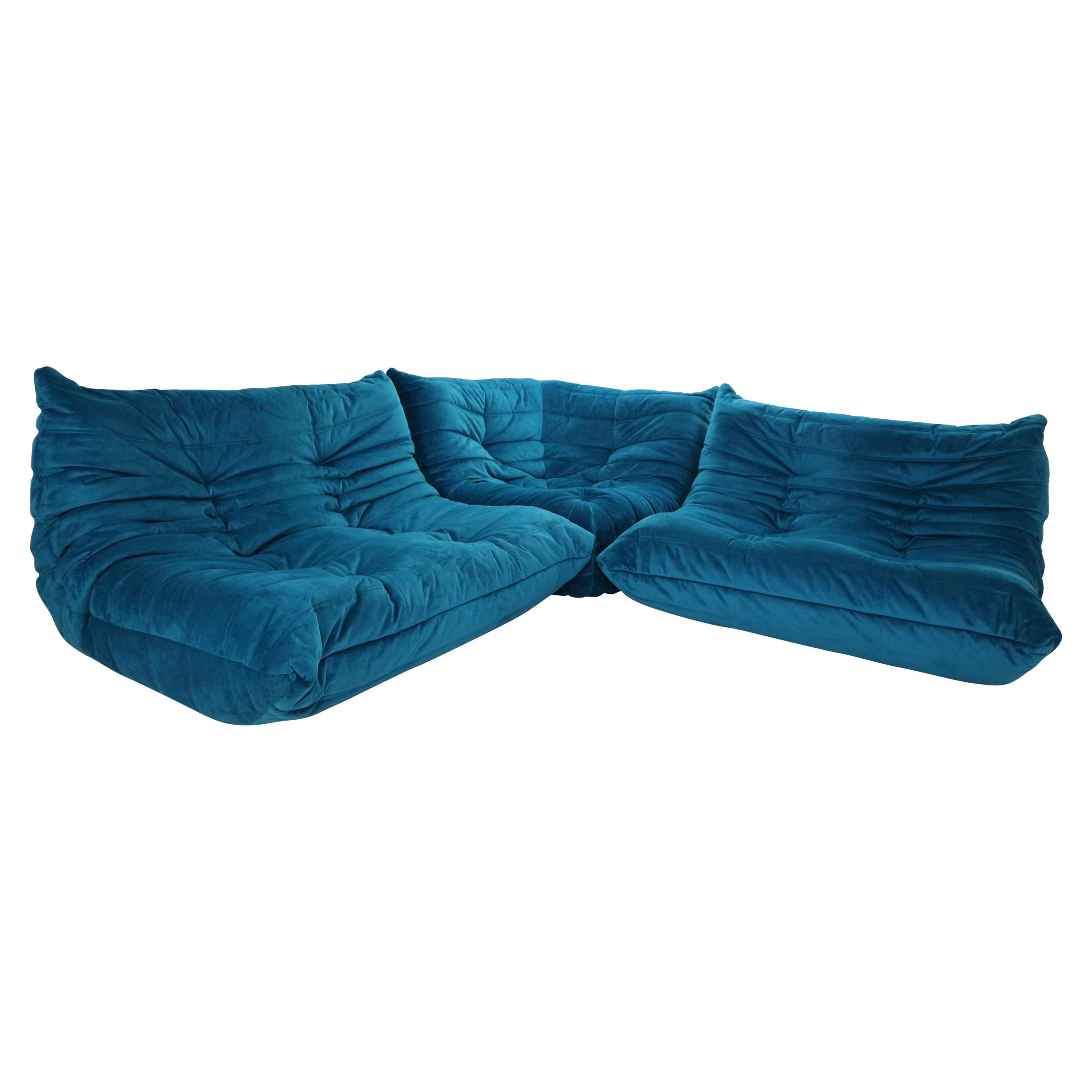 """Ligne Roset """"Togo"""" Blue Velvet Living Room Set by Michel Ducaroy, 1973"""