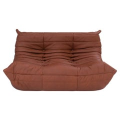 Ligne Roset Togo Brown Leather 2 Seater Small Sofa by Michel Ducaroy