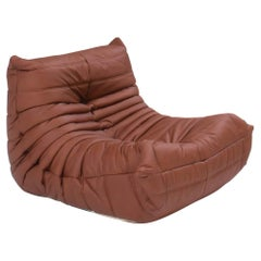 Ligne Roset Togo Brown leather Armchair by Michel Ducaroy
