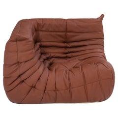 Ligne Roset Togo Brown Leather Corner Sofa by Michel Ducaroy