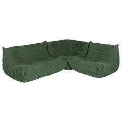 Ligne Roset Togo Designer Corner Sofa Green Alcantara Two-Seat Retro Couch