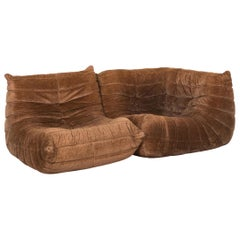 Ligne Roset Togo Fabric Sofa Brown Three-Seat Couch